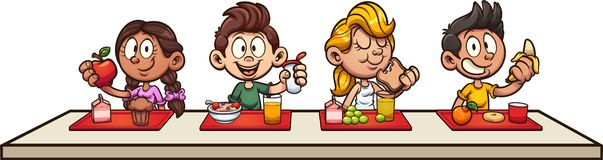Cartoon kids eating breakfast at school. Clip art. Vector illustration with simple gradients. Some elements on separate layers stock illustration