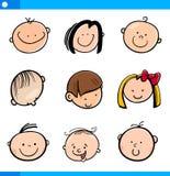 Cartoon kids faces set Royalty Free Stock Photos