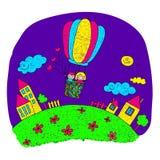 Cartoon kids fly at hot air balloon. Royalty Free Stock Photo