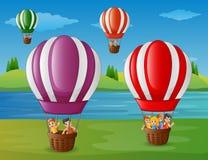 Cartoon kids flying in a hot air balloon at the riverbank vector illustration
