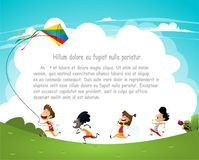 Cartoon kids flying kites vector illustration