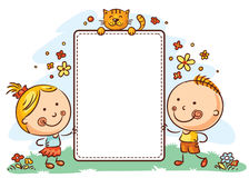 Cartoon kids with a frame with copy space. Kids with a frame with copy space stock illustration