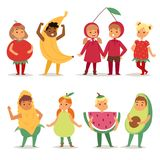 Cartoon kids fruits festive costume boys and girls fancy dress childhood party characters vector illustration. Stock Photos