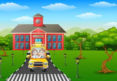 Cartoon kids are going to home vector illustration