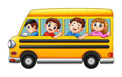 Cartoon kids going to school by school bus. Illustration of Cartoon kids going to school by school bus stock illustration