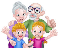 Cartoon Kids and Grandparents Royalty Free Stock Images