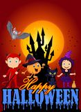 Cartoon kids with Halloween costume and pumpkin wizard Royalty Free Stock Image