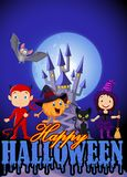 Cartoon kids with Halloween costume and pumpkin wizard Stock Photo