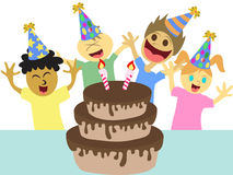 Cartoon kids happy birthday party Stock Image