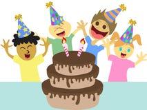 Cartoon kids happy birthday party. Isolated cartoon kids celebrating happy birthday party on white background Stock Image