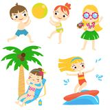 Cartoon kids having beach fun. Children enjoy summer holidays outdoor activity royalty free illustration