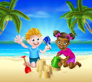 Cartoon Kids Having Fun on the Beach. Children, one black one white, with bucket and spade building sandcastles in the sand on a tropical beach with palm trees Stock Photos
