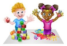 Cartoon Kids Having Fun Stock Photography