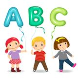 Cartoon kids holding letter ABC shaped balloons. Vector illustration of cartoon kids holding letter ABC shaped balloons royalty free illustration