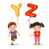 Cartoon kids holding letter YZ shaped balloons. Vector illustration of cartoon kids holding letter YZ shaped balloons stock illustration