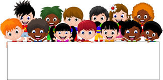 Cartoon kids holding a sign Royalty Free Stock Images