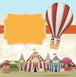 Cartoon kids inside a hot air balloon flying over cartoon circus. Stock Photography