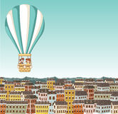Cartoon kids inside a hot air balloon Stock Photo
