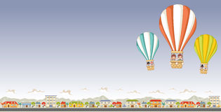 Cartoon kids inside a hot air balloon Stock Photography
