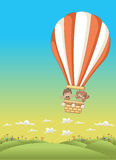 Cartoon kids inside a hot air balloon Royalty Free Stock Images
