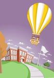 Cartoon kids inside a hot air balloon Stock Photos