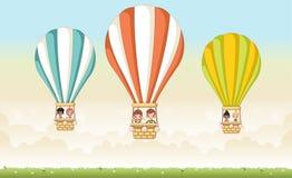 Cartoon kids inside a hot air balloon Royalty Free Stock Photos