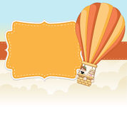 Cartoon kids inside a hot air balloon Royalty Free Stock Photo
