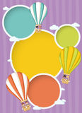Cartoon kids inside a hot air balloon Royalty Free Stock Image