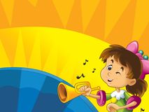 Cartoon kids with instruments - musical signs and happiness on colored dynamic background Royalty Free Stock Image