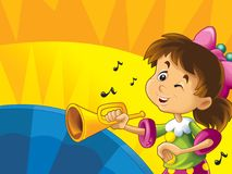 Cartoon kids with instruments - musical signs and happiness on colored dynamic background Royalty Free Stock Images