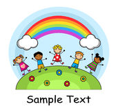 Cartoon kids jumping on the background of rainbow Stock Photography