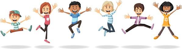 Cartoon kids jumping. Group of cartoon kids jumping Stock Photography