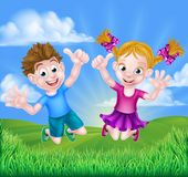 Cartoon Kids Jumping for Joy. Happy cartoon young boy and girl kids jumping for joy and giving thumbs up outdoors in a field vector illustration