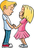 Cartoon kids in love Royalty Free Stock Images
