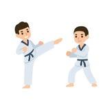 Cartoon kids martial arts Stock Photo