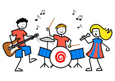 Cartoon Kids Music/eps. Cartoon illustration of kids playing guitar, drums and singing Stock Image