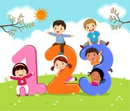 Cartoon kids with 123 numbers stock illustration