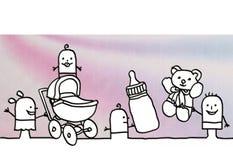 Cartoon kids in nursery with accessories vector illustration