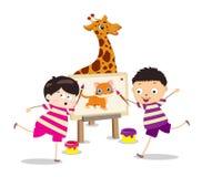 Cartoon kids with painting stock illustration