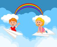 Cartoon kids on a paper plane Royalty Free Stock Photos