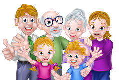 Cartoon Kids Parents and Grandparents. Cartoon happy three generation family with parents, children and grandparents royalty free illustration