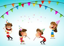 Cartoon kids party birthday celebration. Vector illustration Stock Images