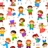 Cartoon kids pattern. Seamless pattern with cartoon kids Stock Image