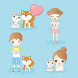 Cartoon kids with pets Royalty Free Stock Image