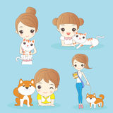 Cartoon kids with pets Stock Photography