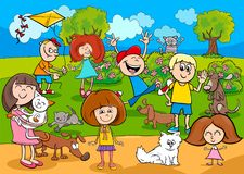 Cartoon kids with pets in the park. Cartoon Illustration of Kids with Pets Characters Group in the Park Royalty Free Stock Image