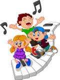 Cartoon kids and piano illustration Stock Photo