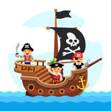 Cartoon kids pirate ship sailing sea Stock Photo
