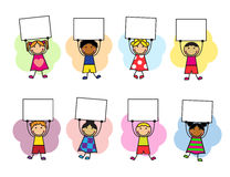 Cartoon kids with placards in their hands. Cartoon kids in bright clothes with placards in their hands Stock Image