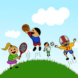 Cartoon kids playing. Illustration vector Stock Image